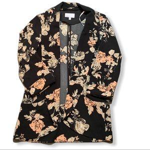 DR2 black floral shawl collar knit blazer